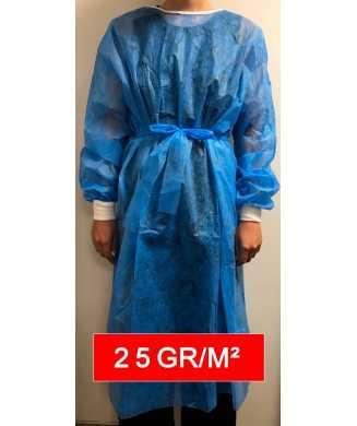 Sur-blouse médicale usage unique non tissée 25gr/m²