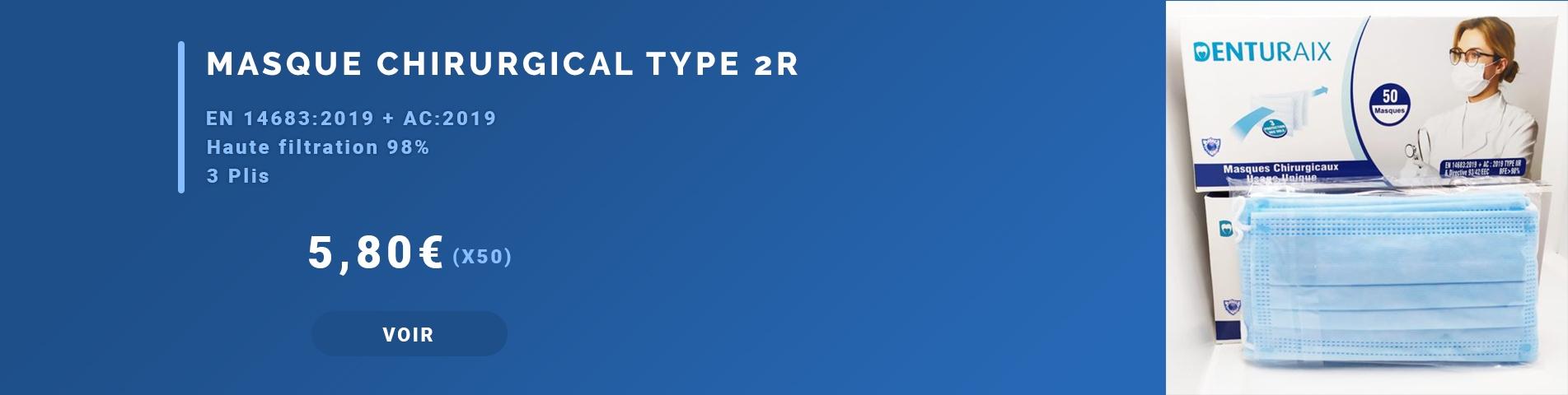 Masque Chirurgical 3 Plis Type 2 R (Boite De 50)
